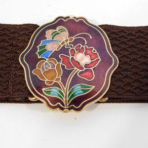 VTG Cloisonne Enamel Butterfly Flower Belt  buckle
